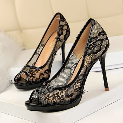 1867-1 in Europe and the sexy nightclub shoes for women's shoes with ultra fine with waterproof mesh hollow out sin