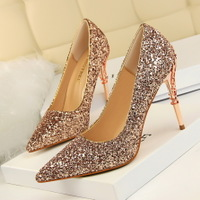 9219-12 European and American wind fashion sexy nightclubs with high-heeled shoes with thin metal lighter pointed sequined shoes