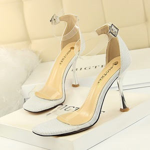 127-2 han edition fashion metal and glass with high with shiny lag peep-toe hollow transparent one word with sandals