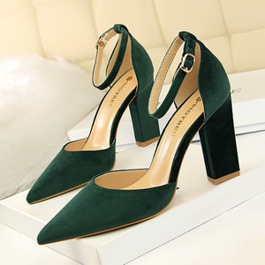 293-2 han edition contracted for women's shoes with hollow thick with high light mouth pointed suede sexy show thin sing