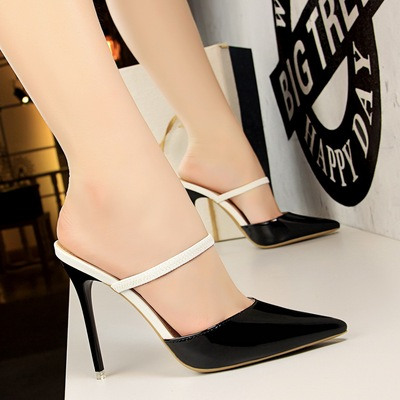 86-7 han edition fashion contracted with patent leather high heel shallow mouth pointed sexy show thin baotou word and w