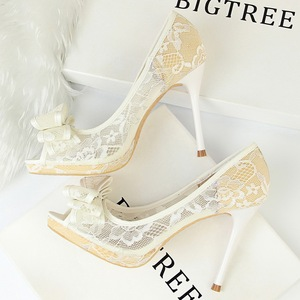 1867-2 in Europe and the sexy clubs lace shoes high heel with shallow hollow out mesh bow mouth fish mouth shoes