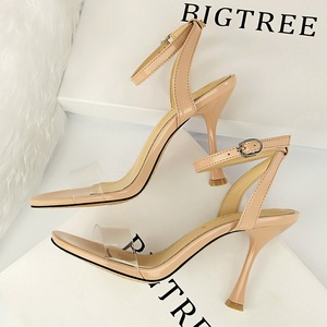 127-3 the European and American fashion wind summer cup women's shoes with high heels lag sexy hollow transparent o