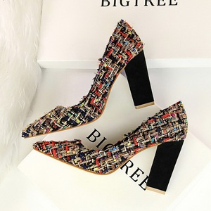 5239-8 Europe and sexy nightclub show thin high heels for women's shoes thick with color matching weave the shallow mout