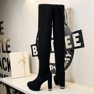 75-1 in Europe and the wind with waterproof platform suede boots contracted thick with high sexy nightclub show thin kne