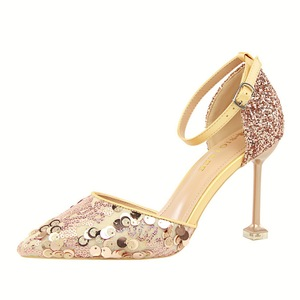 923-15 han edition sexy show thin hollow out shoes high heel with shallow mouth pointed hollow sequins one word with san