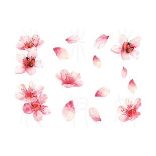 锁骨 米奴防水纹身贴 古风清新手绘樱花 性感桃花朵 手臂锁骨 持久女