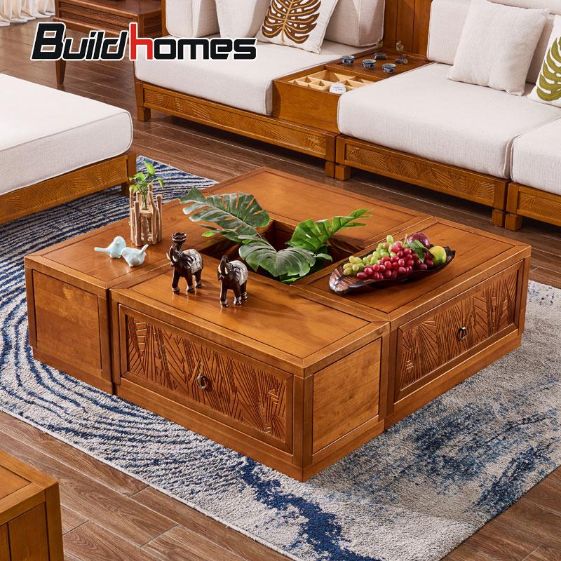 筑家东南亚风格家具正方形实木茶几客厅可自由组合边几带抽屉白蜡