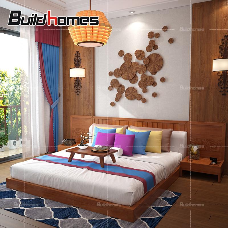 筑家全实木榻榻米床矮床卧室套餐组合双人床东南亚风格家具JA814
