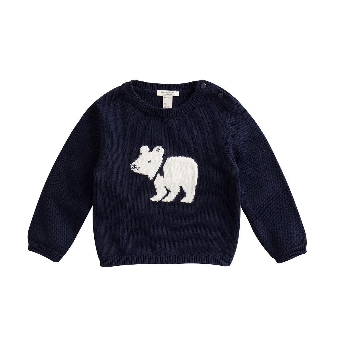 马克珍妮冬装男女童提花纯棉毛衣 宝宝毛线衫套头衫76115