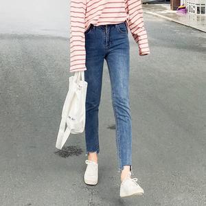 (实拍)新款 韩版弹力显瘦学生百搭牛仔裤女小脚裤 3037#