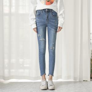 (实拍)新款  韩版弹力磨破显瘦牛仔铅笔裤女小脚裤长 302...