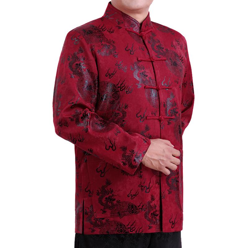 狂促秋冬中老年加棉唐装男外套红色民族演出服喜庆爸爸生日婚宴装