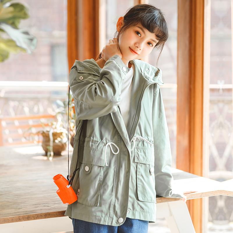 Áo khoác/Áo khoác mỏng/Áo nữ dáng dài thắt eo chống nắng phong cách Hàn Quốc mẫu mới mùa thu kiểu dáng rộng rãi liền mũ