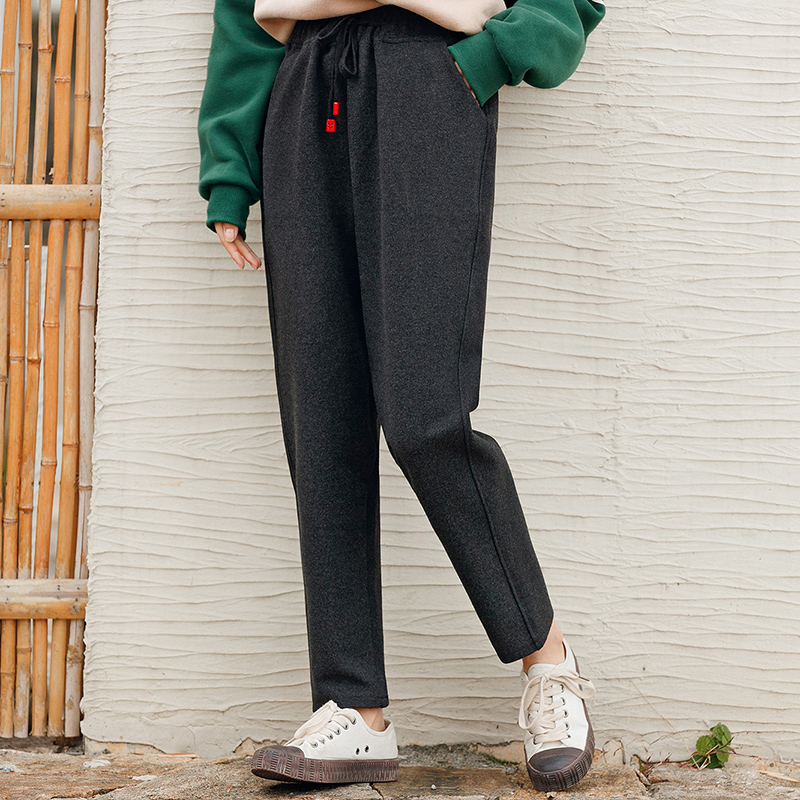 Quần harem/Quần nữ thụng chất liệu dạ dễ kết hợp phong cách Nhật Bản kiểu dáng rộng rãi phong cách học sinh phù hợp cho mùa đông mẫu mới nhất