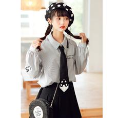 Áo sơ mi/Cà vạt nữ dài tay họa tiết kẻ sọc chất thoáng mát mẫu mới mùa thu phong cách Hàn kiểu dáng rộng rãi phong cách học sinh