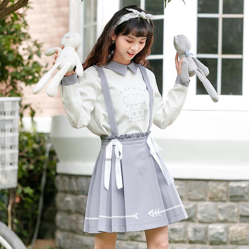 Váy/Dây đai quần yếm nữ họa tiết in hoa mẫu mới mùa thu phong cách Nhật Bản phong cách học sinh