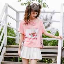 Áo T-shirt nữ cộc tay hình ngộ nghĩnh họa tiết in hoa màu hồng phù hợp cho mùa hè kiểu dáng rộng rãi phong cách học sinh kiểu dáng dễ thương