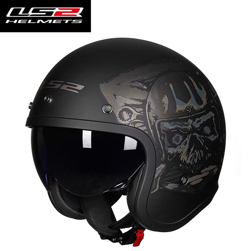 LS2摩托车头盔男女电动机车太子哈雷半盔覆式复古个性四季夏季