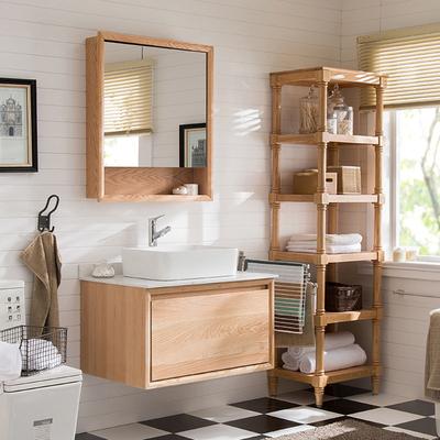 北欧浴室柜红橡木卫浴柜挂式原木色洗手洗脸台盆柜组合吊柜卫生间