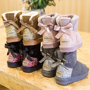 冬季真皮儿童雪地靴男童靴子女童鞋子蝴蝶结宝宝加绒加厚保暖棉鞋