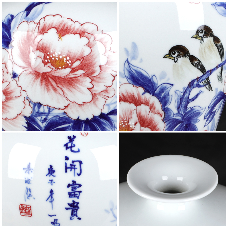 The Master of jingdezhen chinaware big vase hand - made blooming flowers furnishing articles gifts club villa hotel