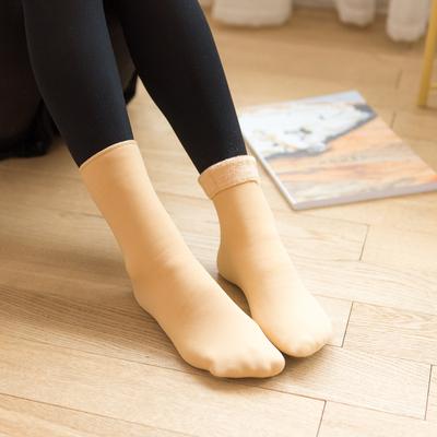 日系加绒加厚雪地袜中筒女袜三双