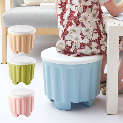 Color can be stacked storage stool multi-functional storage stool creative people can sit shoes stool plastic stool