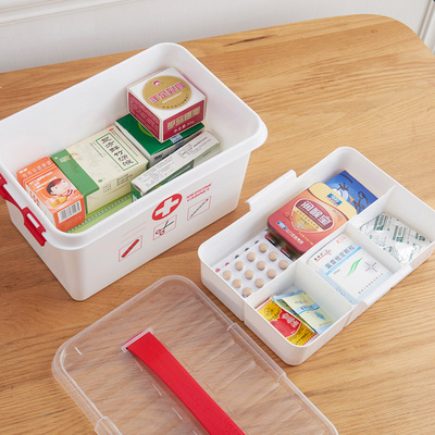 Portable double - layer medical box home with small medicine box home medicine storage box first aid kit medical box