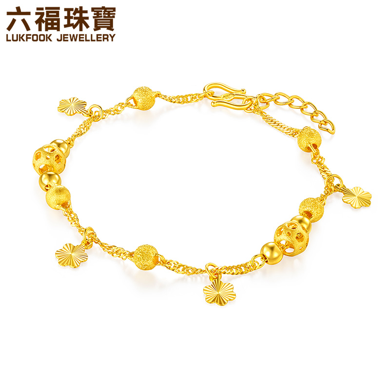 六福珠宝黄金手链金色梦幻女款足金手链含延长链计价L04TBGB0003
