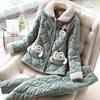 睡衣女冬珊瑚绒夹棉加厚保暖韩版甜美可爱可外穿法兰绒少女家居服