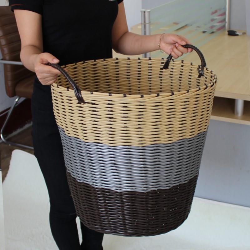 塑料藤编收纳筐脏衣篮脏衣服编织篓寝室洗衣框玩具衣物整理桶有盖