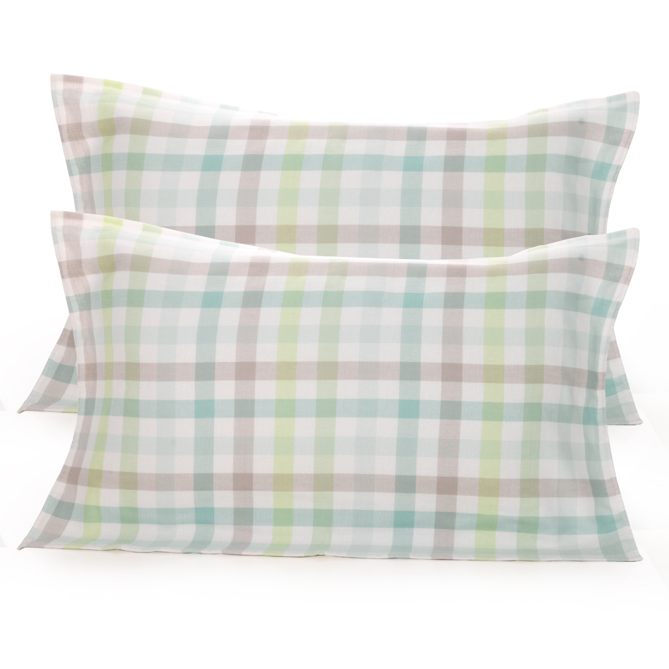 日本百年品牌,Uchino/内野 纯棉纱布方格枕巾一对装