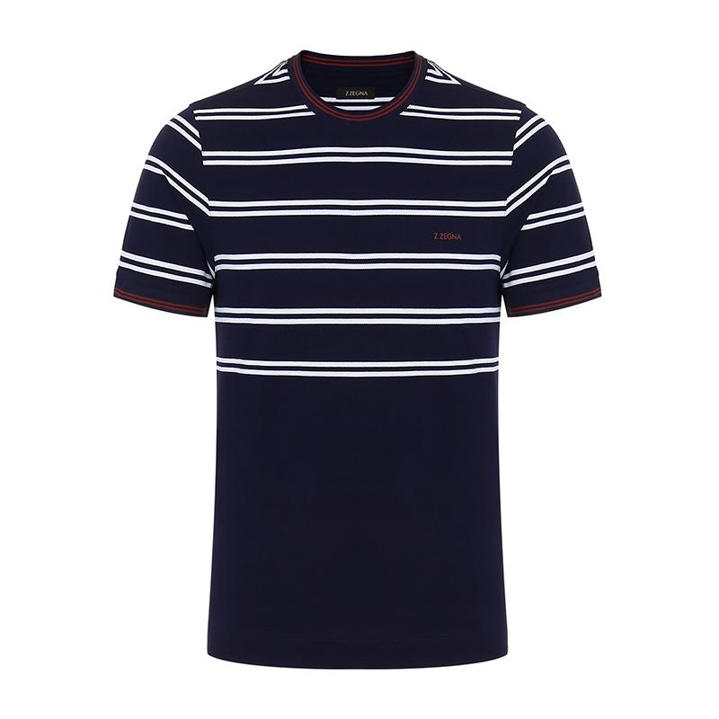 ZEGNA-杰尼亚 条纹图案纯棉材质男士短袖T恤