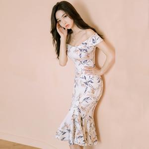 【高档女装】A680#马来西亚性感一字领露肩修身显瘦印花连衣裙鱼尾裙裙高档裙子