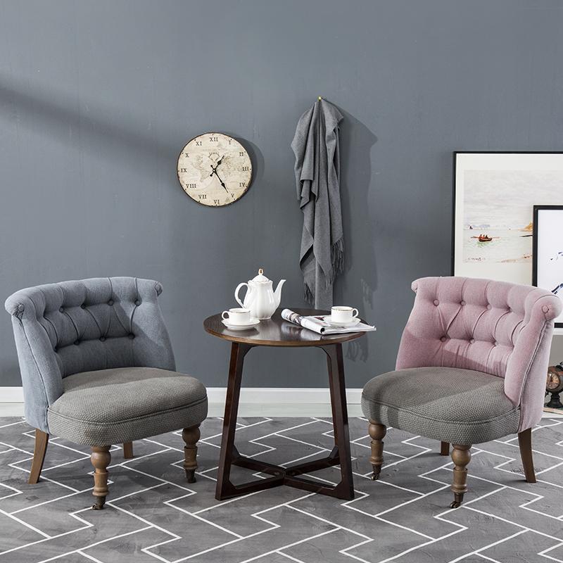 美式沙发椅阳台靠背餐椅布艺简约现代休闲卧室小实木单人沙发老虎