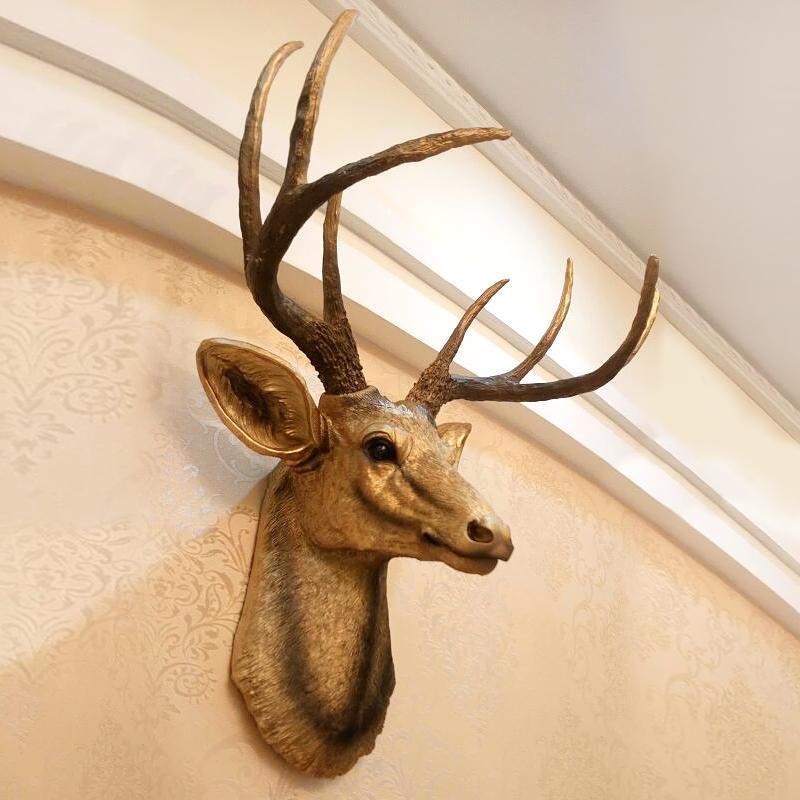 美式鹿头壁挂装饰品创意墙面挂饰复古客厅仿真背景墙壁动物头挂件