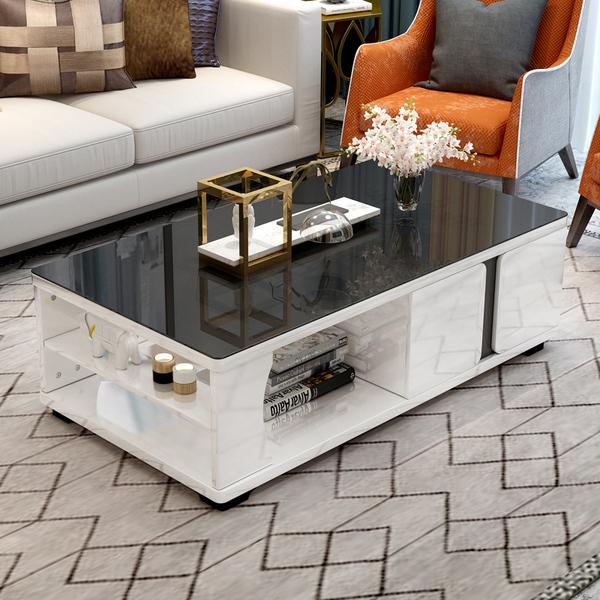 简约现代钢化玻璃茶几电视柜组合烤漆功能茶几小户型储物客厅家具