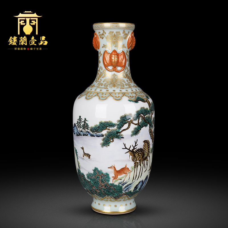 Jingdezhen ceramics powder enamel paint pine deer ears flower vase Chinese style living room home decoration collection furnishing articles