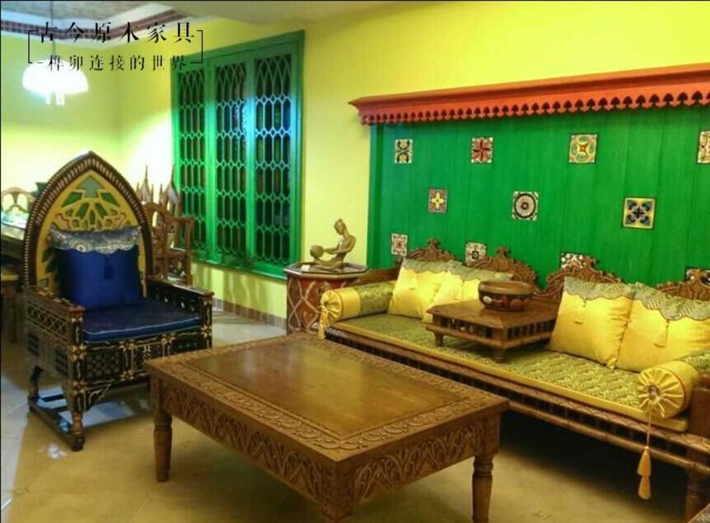 东南亚印度风格实木沙发摩洛哥风格古今ch121-1泰式3人实木沙发_7折