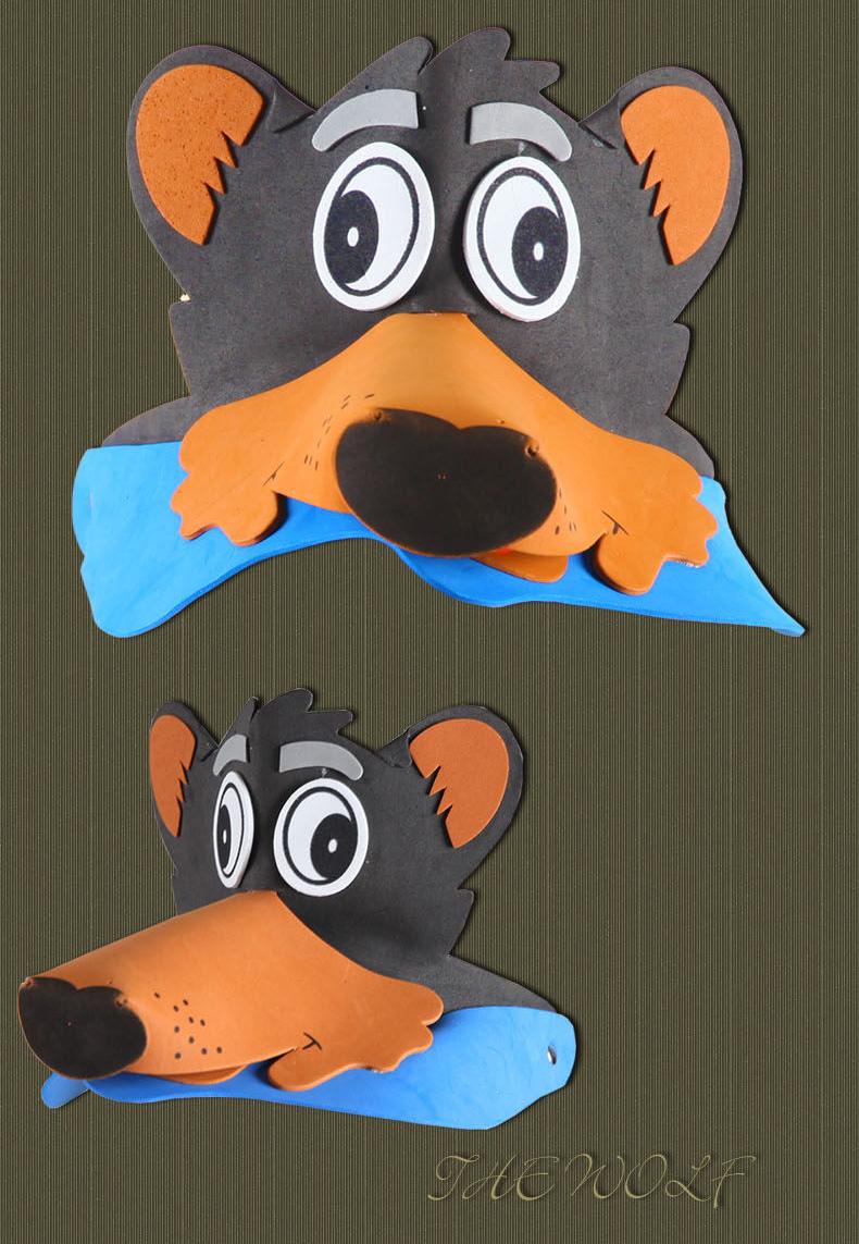 儿童动物头饰表演道具老鼠大灰狼小鸡兔子幼儿园十二生肖卡通帽子