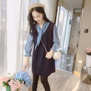 实拍7764#秋装韩版新款系带雪纺衬衫+毛呢背心裙两件套连衣...