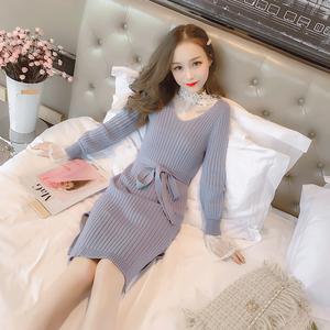 实拍7839秋冬季女装收腰显瘦打底针织连衣裙+蕾丝衫两件套裙