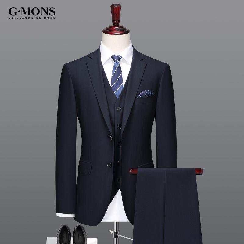 男士羊毛西服套装藏青色新郎结婚礼服修身商务休闲职业西装三件套