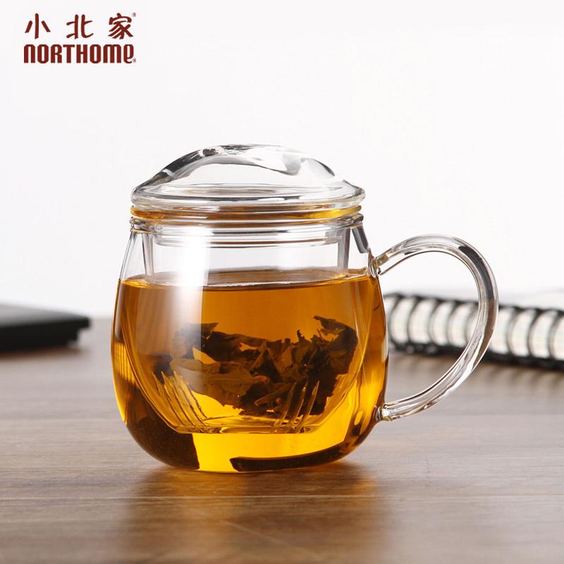 小北家 加厚胖胖杯耐热玻璃茶杯透明玻璃杯子泡茶杯水杯茶水分离