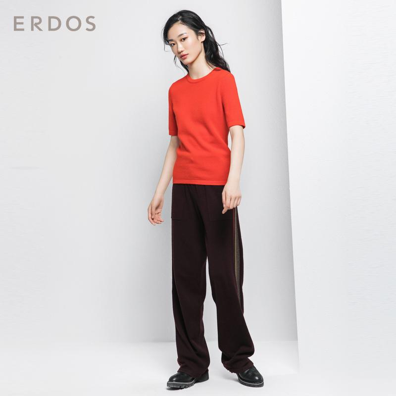 ERDOS 18秋冬新品纯羊绒螺纹圆领设计半袖女士针织套衫E287A0019