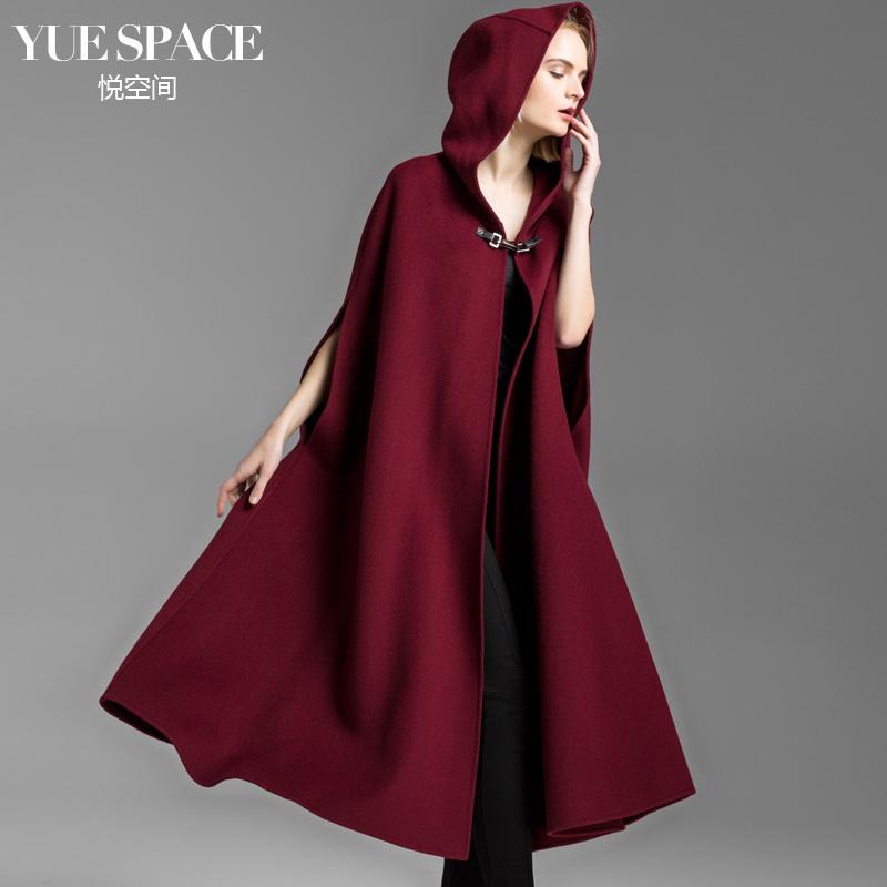 悦空间双面羊毛女大衣毛呢斗篷女长款连帽欧美时尚复古无羊绒外套