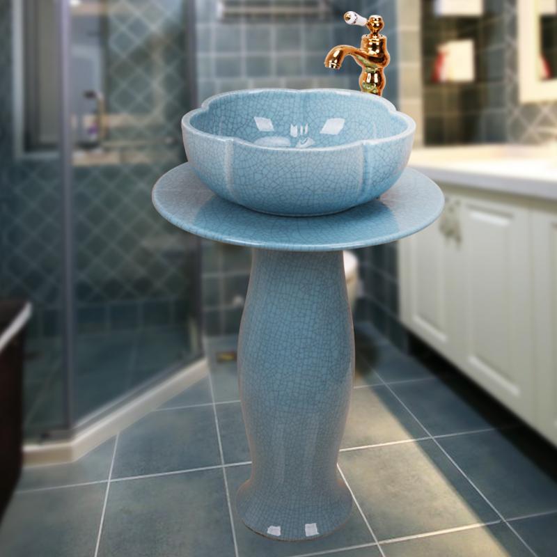 立柱盆复古洗手盆卫生间洗手台盆一体落地式艺术陶瓷立柱式洗脸盆