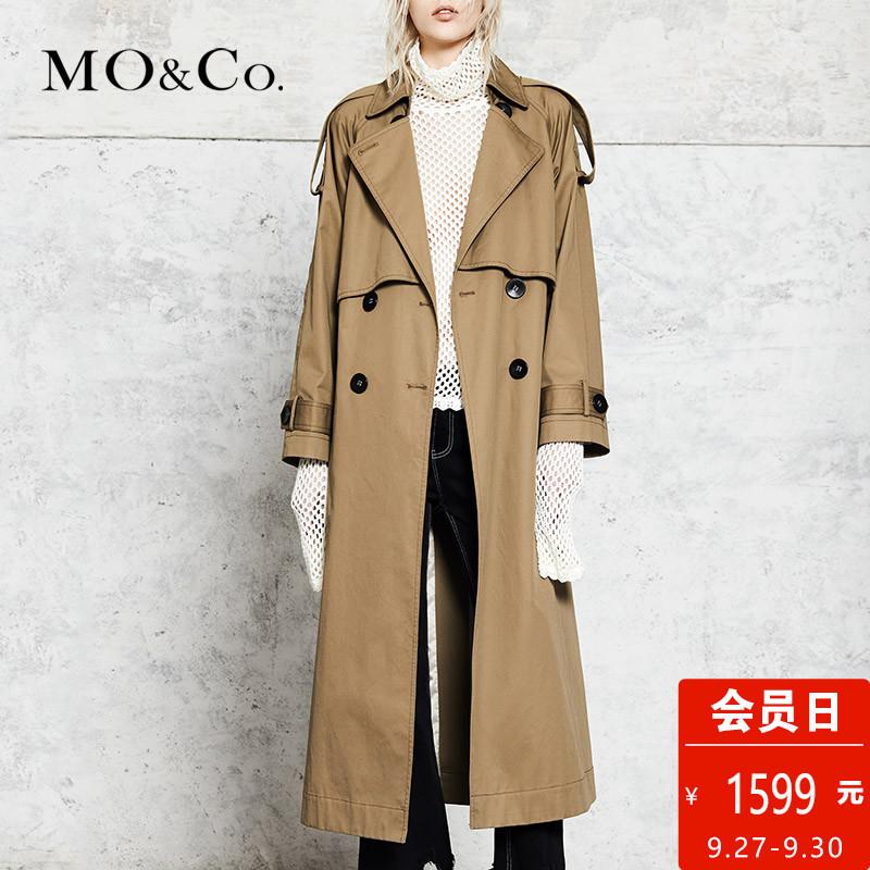 MOCO英伦风双排扣收腰风衣女中长款MA173TRC103 摩安珂