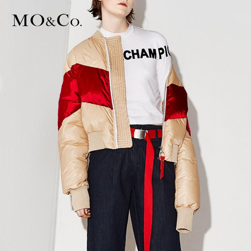 MOCO运动风几何拼色短款罗纹立领羽绒服面包服MA171EIN101 摩安珂